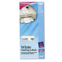 "Avery Laser Labels, Address, 1""x2 5/8"", 200 Count, White"