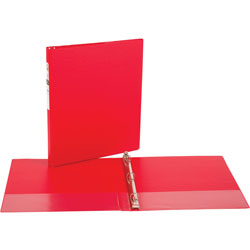 "Avery 42% Recycled Economy Round Ring Reference Binder, 1/2"" Capacity, Red"