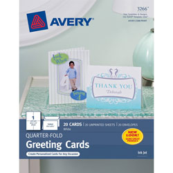 "Avery Quarter Fold Card, 4 1/4""x5 1/2"", White, Pack of 20"