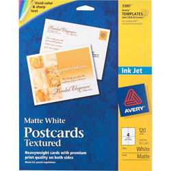 "Avery Textured Post Cards, 4.5""x5.25"", White"
