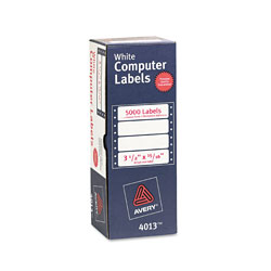 "Avery Pin Fed Labels, 1 Across, 3 1/2""x1 5/16"", 5000 per Pack, White"