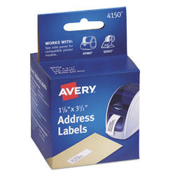 "Avery Self Stick Address Labels for Label Printers, White, 1 1/8""x3 1/2"", 260 per Pack"