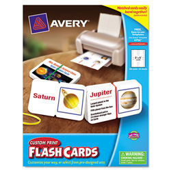 "Avery Notched Printable Flash Cards, White, 3x5"", 100 per Pack"