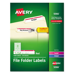 Avery Permanent Printer Filing Labels, 1/3 Cut, 1500 per Pack, Red