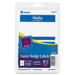Avery Hello Name Badge, 100 per Pack, Blue Border