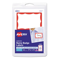 Avery Name Badge, 100 per Pack, Red Border