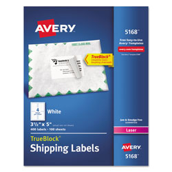 "Avery Laser Labels, Mailing, 3 1/2""x5"", 400 per Pack, White"