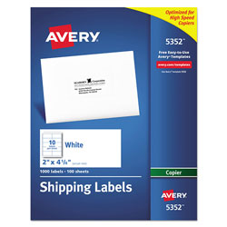 "Avery Copier, Mailing, 2""x4 1/4"", 1000 per Pack, White"
