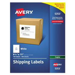"Avery Copier, Full Sheet, 8 1/2""x11"", 100 per Pack, White"