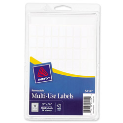 "Avery Self Adhesive White Removable Labels, Rectangular, 3/8""x5/8"", 1000 per Pack"