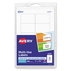 "Avery Self Adhesive White Removable Labels, Rectangular, 1""x1 1/2"", 500 per Pack"