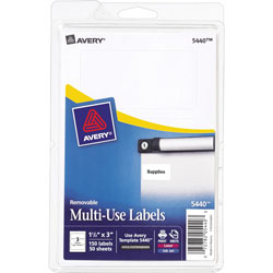 "Avery Self Adhesive White Removable Labels, Rectangular, 1 1/2""x3"", 150 per Pack"