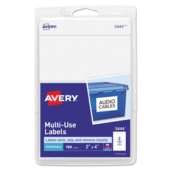 "Avery Self Adhesive White Removable Labels, Rectangular, 2""x4"", 100 per Pack"
