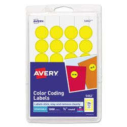 "Avery Print/Write Self Adhesive Removable Round Labels, 3/4"" meter, Yellow, 1008 per Pack"
