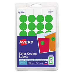 "Avery Print/Write Self Adhesive Removable Round Labels, 3/4"" meter, Green, 1008 per Pack"