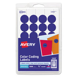 "Avery Print/Write Self Adhesive Removable Round Labels, 3/4"" meter, Dark Blue, 1008 per Pack"