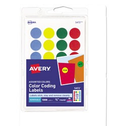 "Avery Self Adhesive Removable Labels, Round .75"" meter, 1000 per Pack, Assorted Colors"