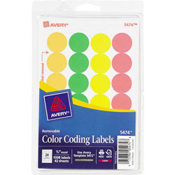 "Avery Removable Labels, 3/4"" Round, FLGN/OR/RD/YW"