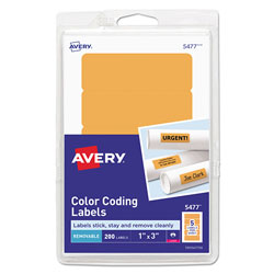 "Avery Self Adhesive Removable Labels, Rectangular, 1""x3"", Orange Neon, 200 per Pack"