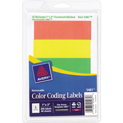 "Avery Removable Labels, Rectangle, 1""x3"", Fluorescent Assorted."