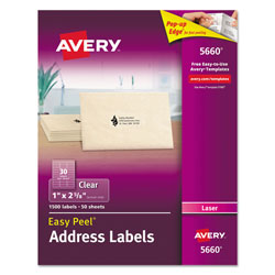 "Avery Laser Labels, Clear, Mailing, 1""x2 3/4"", 1500 per Pack"