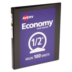 "Avery Economy 1/2"" View Binder, Black"