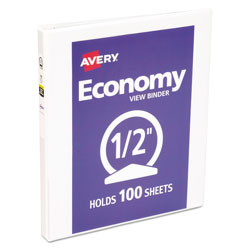 "Avery Economy 1/2"" View Binder, White"