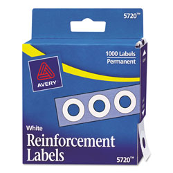 "Avery Self-Adhesive Reinforcement Labels, 1/4"" Round, White, Pack of 1000"