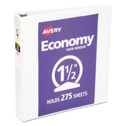 "Avery Economy View Binder w/Round Rings, 11 x 8 1/2, 1 1/2"" Cap, White"