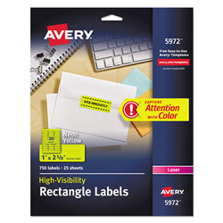 "Avery Neon Laser Labels, Rectangle, 1""x2 5/8"", 750 per Pack, Fluorescent Yellow"