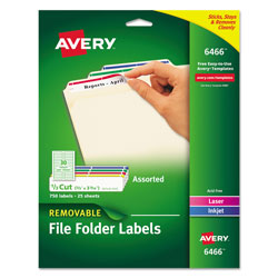 "Avery Laser/Inkjet Filing, Removable, 2/3""x3 7/16"" 750 per Pack, Assorted"