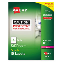 "Avery Durable ID Labels, Laser, Permanent, 5""x8 1/8"", White"