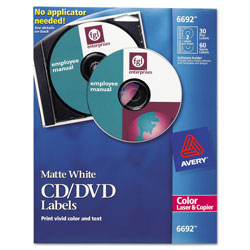 Avery CD/DVD Labels, Color Laser, 30 per Pack, Matte White