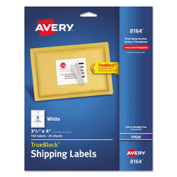 "Avery Ink Jet Labels, Mailing, 3 1/3""x4"", 150 per Pack, White"