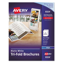 Avery ink jet brochures 8 1 2 x11 100 per pack matte for Avery tri fold brochure template