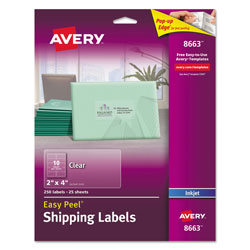 "Avery Ink Jet Labels, Clear, Mailing, 2""x4"", 250 per Pack"