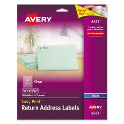 "Avery Ink Jet Labels, Clear, Return Address, 1/2""x1 3/4"" 2000 per Pack"