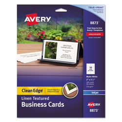 Avery Inkjet Business Cards, Linen, 200 per Pack, White