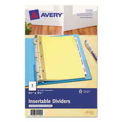 Avery Mini WorkSaver® Insertable Tab Dividers, 5-Tab Set