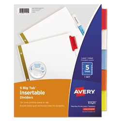 Avery WorkSaver® Big Tab™ Insertable Dividers, 5-Tab Set, Multicolor