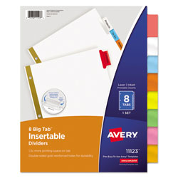 Avery WorkSaver® Big Tab™ Insertable Dividers, 8-Tab Set, Multicolor