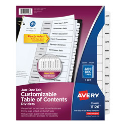 Avery Ready Index® Table of Contents Dividers, 12-Tab Set, White