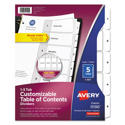 Avery Ready Index® Table of Contents Dividers, 5-Tab Set, White