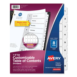 Avery Ready Index® Table of Contents Dividers, 8-Tab Set, White