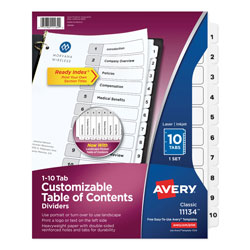 Avery Ready Index® Table of Contents Dividers, 10-Tab Set, White