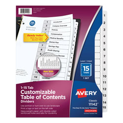 Avery Ready Index® Table of Contents Dividers, 15-Tab Set, White