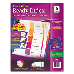 Avery Ready Index® Extra-Wide Table of Contents Dividers, 5-Tab Set, Multicolor