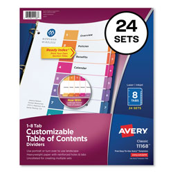 Avery Ready Index® Table of Contents Dividers, 8-Tab, 24 Sets, Assorted Colors