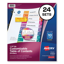 Avery Ready Index® Table of Contents Dividers, 10-Tab, 24 Sets, Assorted Colors