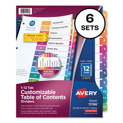 Avery Ready Index® Table of Contents Dividers, 12-Tab, 6 Sets, Multicolor